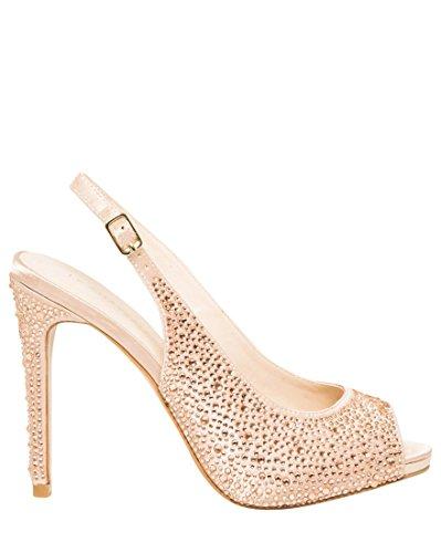 LE CHÂTEAU Women's Jewel Embellished Satin Slingback - Satin Blush Footwear
