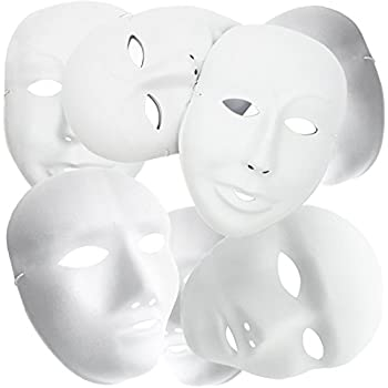MICHLEY Full Face Party Mask White Cosplay Masks in Masquerade (12pcs male+12pcs female)