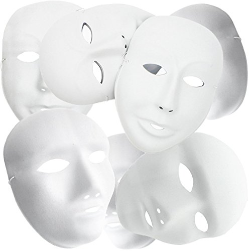 MICHLEY Full Face Halloween Mask White (12pcs male+12pcs female)