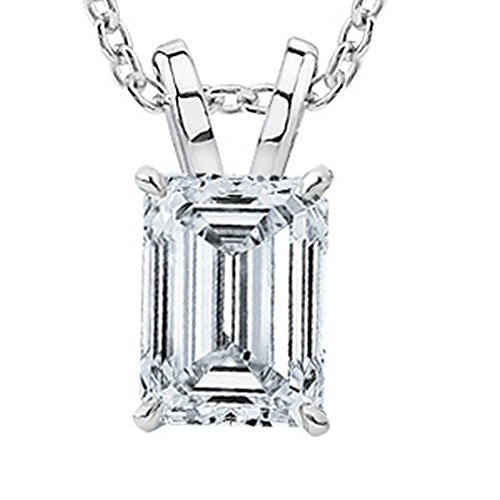 (1/2 Carat GIA Certified 14K White Gold Solitaire Emerald Cut Diamond Pendant (0.5 Ct I-J Color, VVS1-VVS2 Clarity) w/ 16