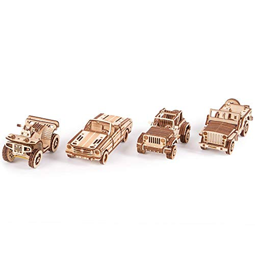 Wood Trick 4-Pack Set of Cars Playset - Jeep, ATV, Cabriolet, Safari - Educational Vehicles - Moving Parts, 3D Wooden Puzzle, Assembly Constructor, Brain Teaser for Kids and Adults