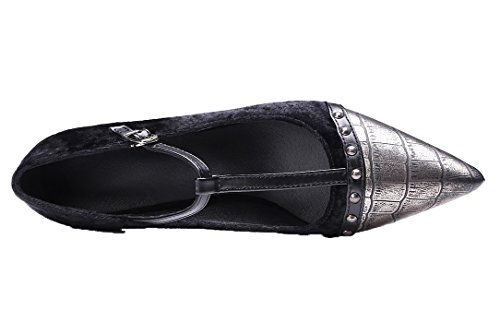 Amoonyfashion Damesschoenen-hakken Punt-teen Diverse Kleuren Gesp Pumps-schoenen Zwart