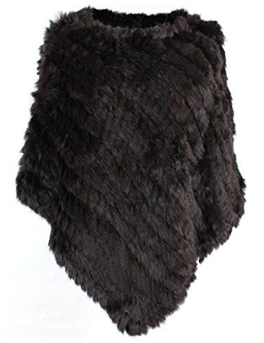 bestfur Women's Genuine Knitted Rabbit Fur Loose Cape Shawl Cloak ()