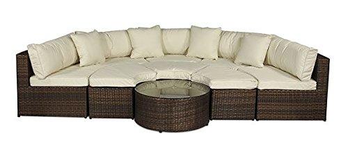 Mónaco Conjunto grande de muebles (semicircular) de ratán ...