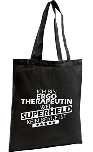 Shirtstown Bolso De Compras Orgánico Zen, Shopper Estoy Terapeuta ocupacional, weil Superheld sin Trabajo ist Negro