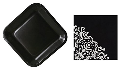 Colorful Party Plates and Napkins - Disposable Paper for easy cleanup (Black Paper Plates with Filigree Paper Napkins) -