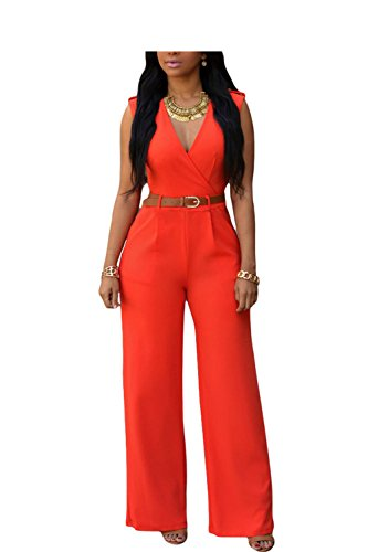 Rainlife jumpsuits Jumpsuit Long Pants Women Rompers Sleeveless XXL V-Neck New Belt Solid Sexy Nig by Rainlife jumpsuits