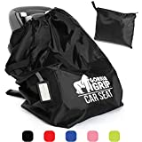 Gorilla Grip Car Seat Bag with Pouch, Bonus Luggage Tag, Adjustable Padded Straps for Backpack, Easy Carry, Universal Size Travel Bags, Airport Flying with Baby, Airplane Gate Check, Black Straps