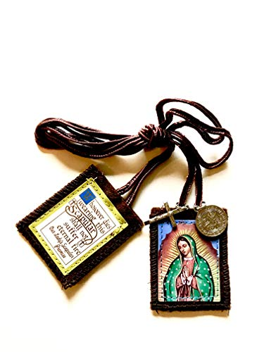 Escapularios Catolicos La Virgen De Guadalupe - Brown Scapulars Catholic Necklace for Women and Men - Scapular with Medal and Crucifix (1)