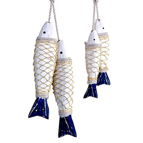 Trycooling Set of 4 Mediterranean Style Wooden Hanging Fish Home Decoration Ornament for Home Wall Decor Blue White