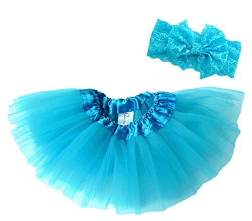 Dancina Tutu Headband Set Baby Vintage Classic Tulle Skirt w/ Soft Lace Bandeu 6-24 months (Elsa Outfit)