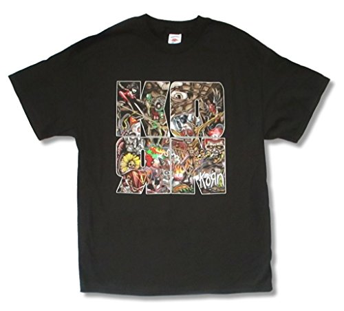 Korn Puzzle Collage Letters Logo Black T Shirt Adult (L) (Printed Korn T-shirts)