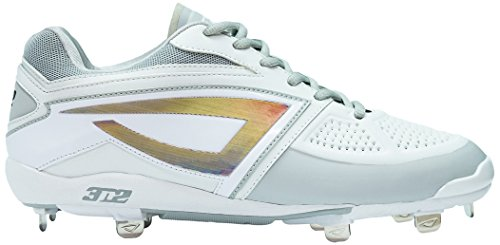 Diamond Softball Cleats - 3N2 Women's Dom-N-8 Metal Cleat, White, Size 7.5
