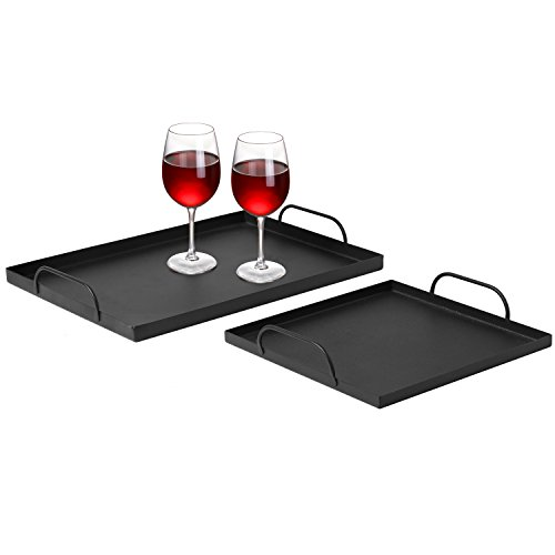 Decorative Metal Nesting Serving Trays with Curved Handles, Set of 2, Matte Black by MyGift