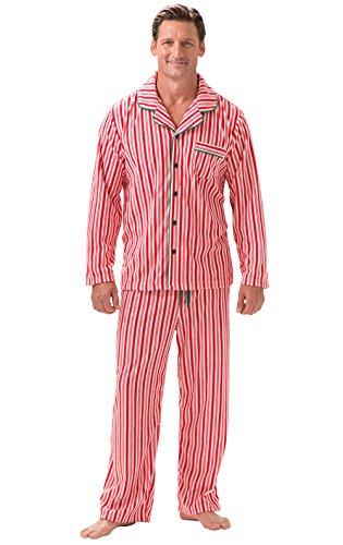 PajamaGram Candy Cane Fleece Button-Front Men's Pajamas, Red, Men Large