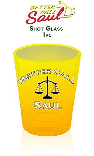 1.5oz AMC's OFFICIAL Better Call Saul PREMIUM Yellow Shot Glass - Hat And Glasses White Walter