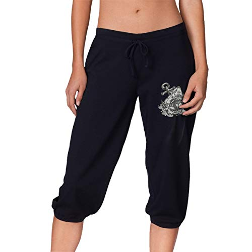 Northern Nebula Anchor Shark Womens French Terry Capri Pants Casual Loose Elastic Waist Cropped Trousers Black