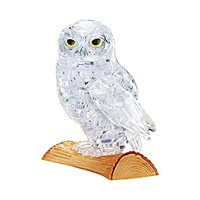 BePuzzled Original 3D Crystal Jigsaw Puzzle - Owl Animal Bird Assembly Brain Teaser, Fun Model Toy Gift Decoration for Adults & Kids Age 12 and Up, Clear, 42 Pieces (Level 1): Toys & Games