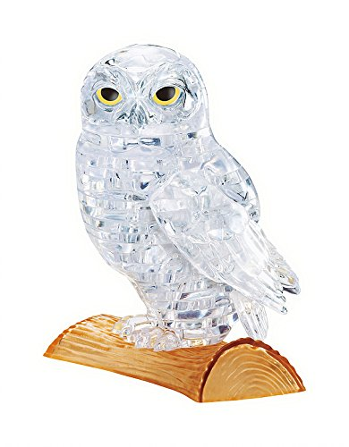 BePuzzled Original 3D Crystal Jigsaw Puzzle - Owl Animal Bird Assembly Brain Teaser, Fun Model Toy Gift Decoration for Adults & Kids Age 12 and Up, Clear, 42 Pieces (Level 1) by Bepuzzled