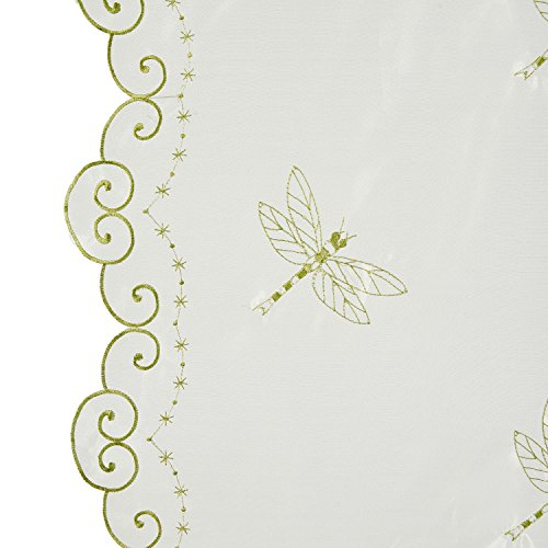 Best Dragonfly Embroidery Polyester Tie-Up Window Shade Balcony Window Drape Panel Scarf Valances Curtain Light Green 33''W x 57''H by Comforbed (Image #7)