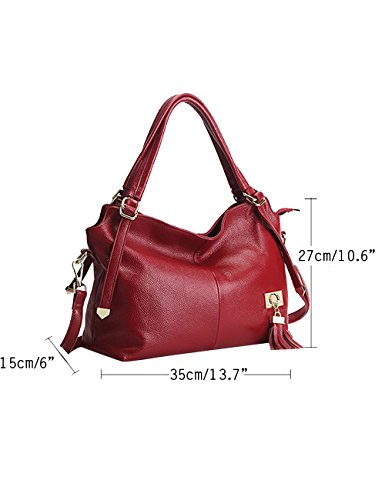 CUKKE Damen Echtes Leder Handtasche Elegant Taschen Blau Rot