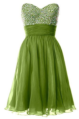MACloth Women Strapless Chiffon Short Prom Dress Formal Cocktail Party Ball Gown Verde Oliva