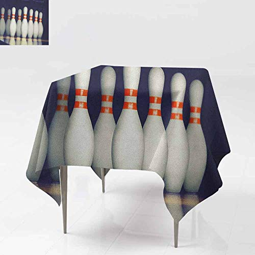 AndyTours Square Tablecloth,Bowling Party,Classical Pins on Alley Competition Pursuit Leisure Time Theme Print,for Events Party Restaurant Dining Table Cover,54x54 Inch Dark Blue White Red