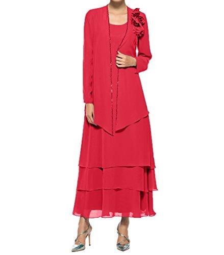 Charmant Knoechellang Promkleider Brautmutterkleider Abendkleider Langarm Jaket Damen Partykleider Rot Chiffon Mit w6AwWxSqRT