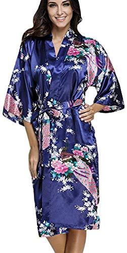 FLYCHEN Women's Satin Kimono Robe Sleepwear for Ladies Plus Size (US 3XL-4XL/Tag Size 5XL, Blue Peacock) ()