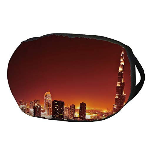 Fashion Cotton Antidust Face Mouth Mask,Landscape,Arabic Dubai Downtown with Cityscape Skyscrapers Sunset Middle East City Photo,Multicolor,for women & men