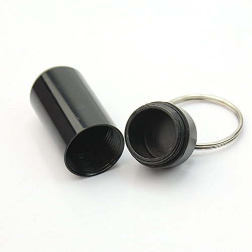 3Pcs 49*17mm Pill Box Keyring Waterproof Aluminum Travel Pill Holder Keychain Portable Mini Pill Box Case Bottle Container Black Color