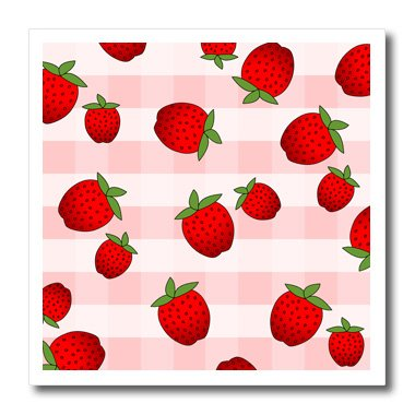 3dRose Strawberry Print Fresh Red Strawberries on Pink Check - Iron on Heat Transfer, 8 by 8-Inch, For White Material - T Prints Fresh Shirts