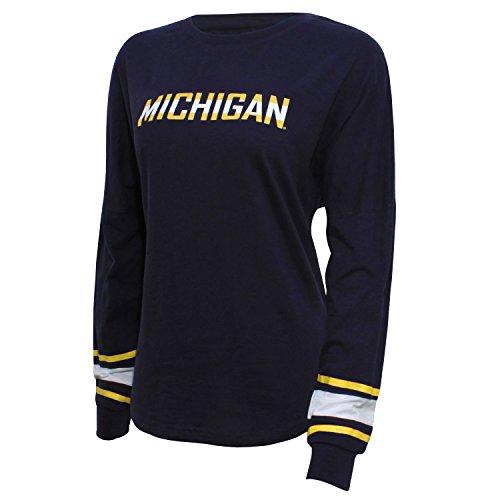 NCAA Michigan Wolverines Women's Campus Specialties Long sleeve Fan Tee, Medium, Navy