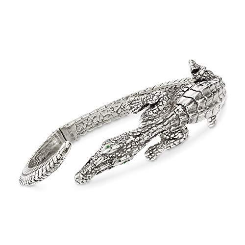 (Ross-Simons Italian Sterling Silver Alligator Bypass Bangle Bracelet With Emeralds )
