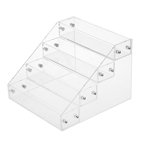 Fityle 4 Tiers Acrylic Makeup Nail Polish Display Stand Organizer Clear Holder Rack (Tattoo Ink Case)