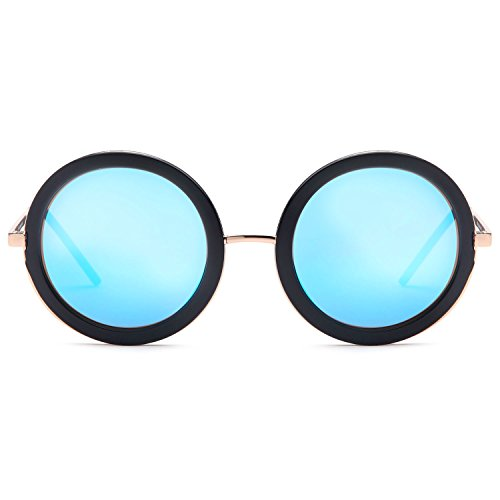 SUN LOUNGER UV400 Vintage Retro Round Style Sunglasses for Women Mirror Lens and Metal Frame with Spring Hinge – Mirror Blue Lens on Gold & Black - Style Mirror Sun