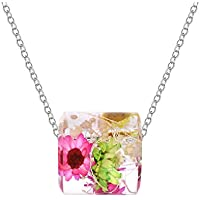 NINIKISS Pressed Flower Pendant Necklace Handmade Jewelry for Women Girls, Ideal Gifts for Her for Free