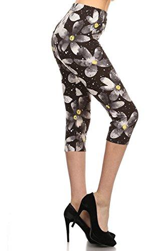 (R822-CA-OS Floral Trance Capri Print Leggings)