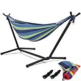 HONGJUN Double Hammock with Steel Stand - Space Saving 2 Person Adjustable and Portable Stand Hammocks,450 Pounds Capacity(Blue Stripe)