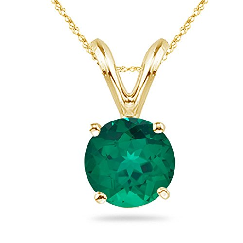 1.51-2.05 Cts of 8 mm AAA Round Russian Lab Created Emerald Solitaire Pendant in 14K Yellow ()