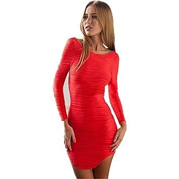 Vestido corto de fiesta de manga larga, talla 36-38, color rojo