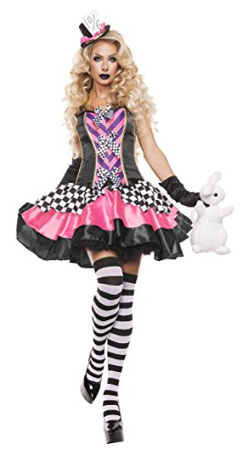 Starline Women's Fancy Hatter Sexy 2 Piece Costume Set, Pink/Black, Medium -