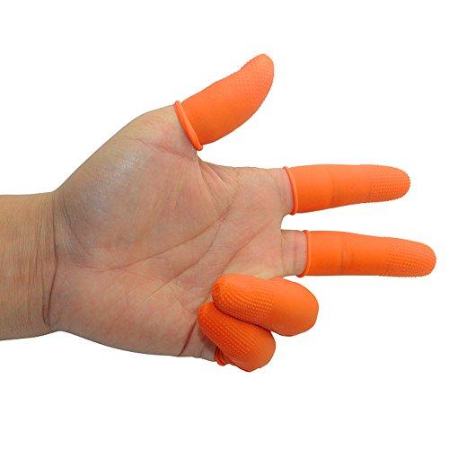 Disposable Gloves Finger Cots Latex Rubber Fingertips Plastic Protective Glove Set for Men Women Kids Medium M Food Safe White Bulk Work Orange 100 PCS