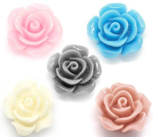 Housweety 100 Mixed Resin Flower Embellishments Jewelry Making Findings - Acrylic Flowers