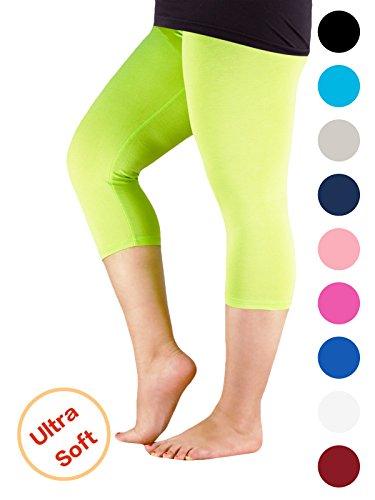 Century Star Women's 3/4 Length Smooth Stretchy Short Pants Plus Size Elastic Waist Sport Capri Leggings Apple Green US 2X Plus-US 4X (Tiger Spandex Shorts)