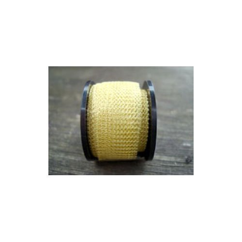 1 x Pale Gold Knitted Copper Wire Mesh 1 Metre x 15mm Flat Tube - (W7121) - Charming Beads