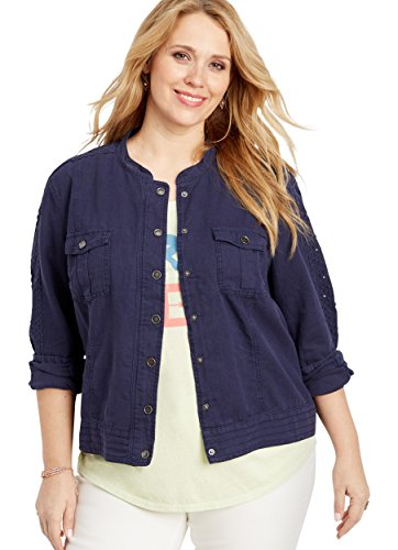maurices Women's Plus Size Linen Eyelet Sleeve Jacket 2 Blue Jasmine