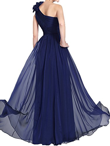 High White Bridesmaid Ruffle Shoulder Waist A Chiffon Dress Women's One Gown Evening Prom Line DKBridal xCqw06TUx