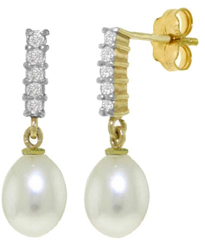 14k Solid Gold Diamond-Pearl Dangle Earrings