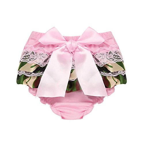 Vincent&July Baby Girls Summer Pink Lace Bowknot Chiffon Camouflage Panties Briefs Pants Shorts (Pink Camo Dress)